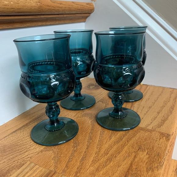 Vintage Indian Glass Kings Thumbprint Goblets Blue